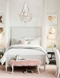 Bedroom:Cool White Teenage Girl Bedroom With Modern Floral Wallpaper And  White Desk Also Hanging