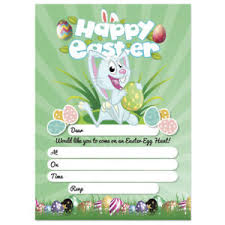 Details About 20 X Easter Egg Hunt Party Invitations Rabbit Theme Invite Cards Kids Adult