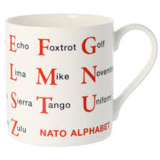 The english alphabet is based on the latin script, which is the basic set of letters common to the various alphabets originating from the classical latin the old english alphabet was recorded in the year 1011 by a monk named byrhtferð and included the 24 letters of the latin alphabet (including. Nato Phonetic Alphabet Large Mug