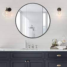 Amazon Com Letushy 1 2 Inch Stainless Steel Frame Wall Mirror Bathroom Mirror Circle Mirror Round Mirror Vanity Mirror Makeup Mirror 32 Inch Black Home Kitchen