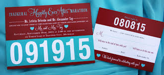 modern archives page 9 of 44 emdotzee designs Running Themed Wedding Invitations turquoise & red marathon race bib wedding invitations Medieval Wedding Invitations