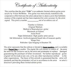 Certificate Of Authenticity Template Inspiration 48 Sample Certificate Of Authenticity Templates Sample Templates