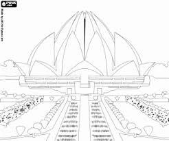 Kleurplaat Lotus Tempel In Delhi India Kleurplaten
