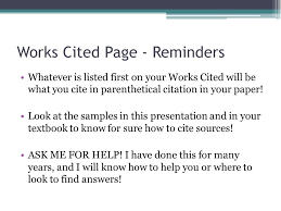 introduction to mla format ppt video online  works cited page reminders