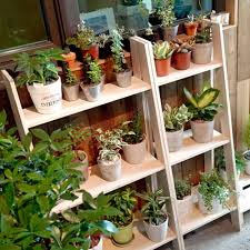 Wooden Ladder Display Stand DIY Wooden Ladders Plant Display Stand☆Korea Handmade Natural 56