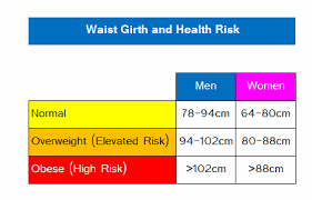 Ideal Waist Measurement Chart Waist Girth Or Circumference Recommended Guidelines