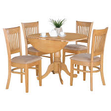 oak drop leaf table and 4 dinette chairs 5 piece dining set