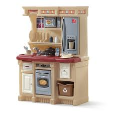 simple red play kitchen set school kids wooden pretend and
