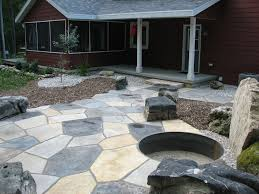 Stone Patio Designs With Fire Pit Acaal