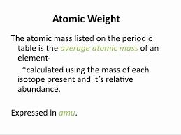 Atomic Weight and Average Atomic Mass - Chemistry Tutorial - YouTube
