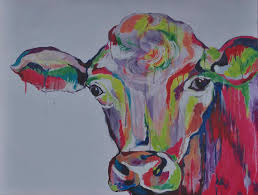 country farm animal rainbow cow painting