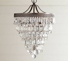 astounding glass drop chandelier in clarissa crystal small round pottery barn