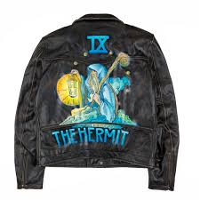 hand painted distressed biker jacket the hermit large