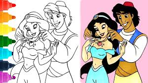 Then, i came to know that there is actually a disney princess channel in youtube created by a grown up men. Aladdin Coloring Pages 1080p Coloring Jasmine Princess Aladdin Disney Coloring Book Youtube