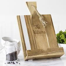 house warming ideas personalize this acacia wood and marble recipe stand with the newlywed s name for a multi functional house gift they can e for