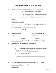 minor child power of attorney forms