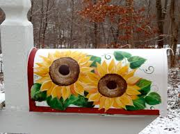 painted mailbox designs. Hand Painted Mailbox With Yellow Sunflowers By DancingBrushes, $99.00 Designs D