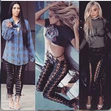 jeans kardashians kim kardashian khloe kardashian leather lace up black leather pants lace up leather tights