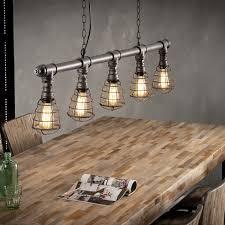 Hanglamp Industrial Tube Wire 5 Lichtpunten Zwart Bruin Metaal