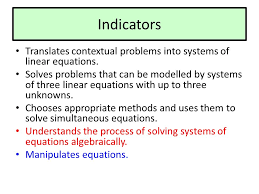 indicators translates contextual problems into systems of linear equations