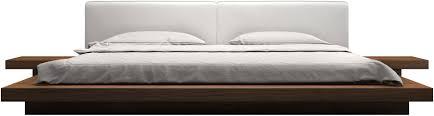 Modloft Worth Platform Bed w/ 2 Matching Nightstands in Walnut and White -  HB39A-