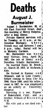 Obit of August Burmeister, husband of Daisy M. Betcher, m. in Atcheson, KS  - Newspapers.com