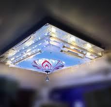 glass decorative rectangular shape surface ceiling fixture chandelier