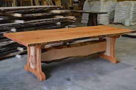 cherry wood dining table. Live Edge Cherry Dining Table With Trestle Base Wood U