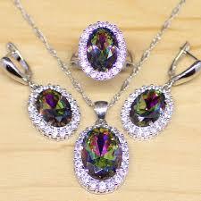 mystic rainbow fire created topaz jewelry set women 925 sterling silver jewelry wedding earrings pendant necklace rings t002