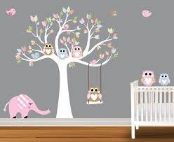 elephant wall art for baby nursery decor with owl and gray wall paint colors