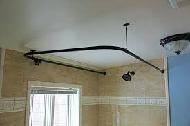 u shaped shower rod u shaped shower rod in oil rubbed bronze on an angle ceiling