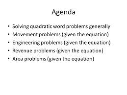 agenda solving quadratic word problems generally