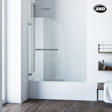 pivot clear curved tub door in chrome