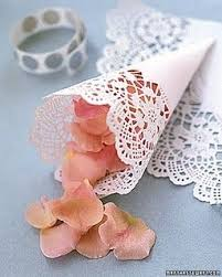 How To Make Paper Cones For Flower Petals So Simple Rolled Up Doily Into A Cone To Hold Flower Petals For The