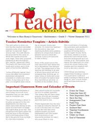 Free Teacher Newsletter Templates Elementary Teacher Newsletter Templates Free Aiyfa