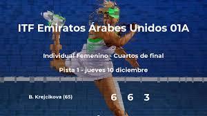 Resultados de tenis en directo: partido Sorana Cirstea - Barbora Krejcikova  en ITF Emiratos Árabes Unidos 01A