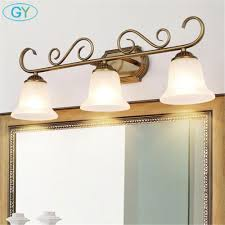 E14 Wall Lights Us 49 99 Antique American Style E14 Bulbs Wall Lamp Ac85 265v Led Mirror Light Waterproof Glass Shade Wall Light Bathroom Lighting Sconce In Led
