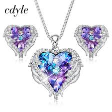 cdyle crystals from swarovski angel wings necklaces earrings purple blue crystal heart pendant jewelry set for mothers day gift c19041501 uk 2019 from