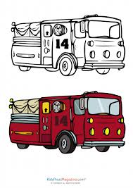 fire truck coloring page. Modren Page Fire Truck Coloring Page With Fully Colored Reference Of A  Intended O