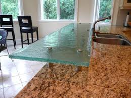 sample of raised glass countertop with standoffs