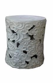 Chinese Off White Cloud Scroll Ceramic Round Garden Stooll cs456-1S