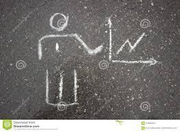 White Simple Business Drawing On Asphalt Chalk Stock Image