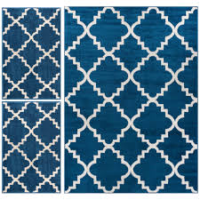 Well Woven Royal Court Piece Blue Area Rug Set