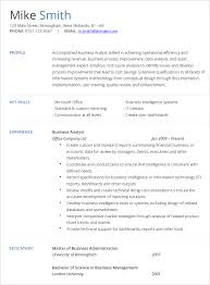 Business Analyst Resume Templates Samples Junior Business Analyst
