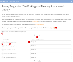help survey design survey builder survature the target management dialog