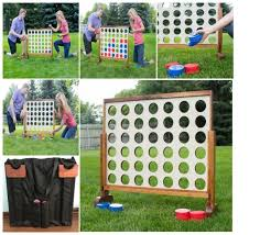 Wooden Yard Games Jumbo Giant Connect Four 100 in a Row Wooden Play Yard Home Game 6