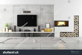 living room with tv and fireplace. Modern Living Room With TV And Fireplace - Rendering Tv :