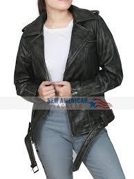 brie larson distressed leather jacket captain marvel