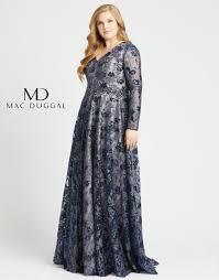 Mac Duggal 77672f Floral Appliques Plus Size Gown