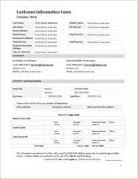 Customer Information Template Customer Information Form Template For Word Word Excel